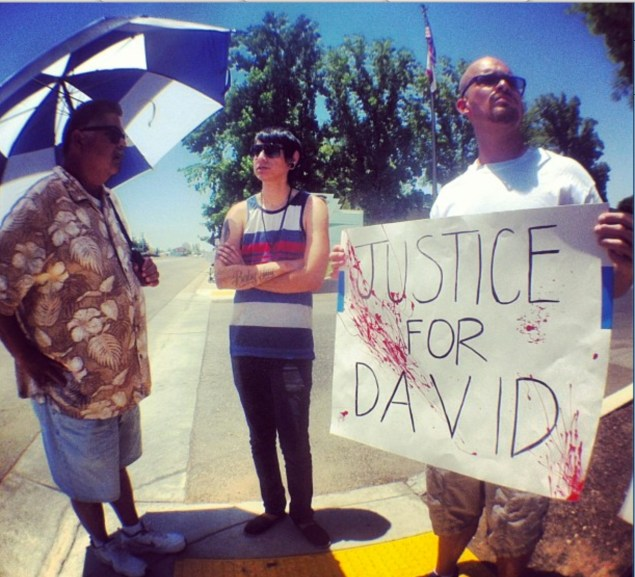 David Silva's brother at June 8, 2013 demonstration in Bakersfield. CREDIT: Nicholas Belardes.