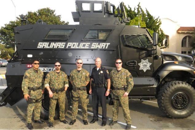 Salinas Police enjoying military overstock.
