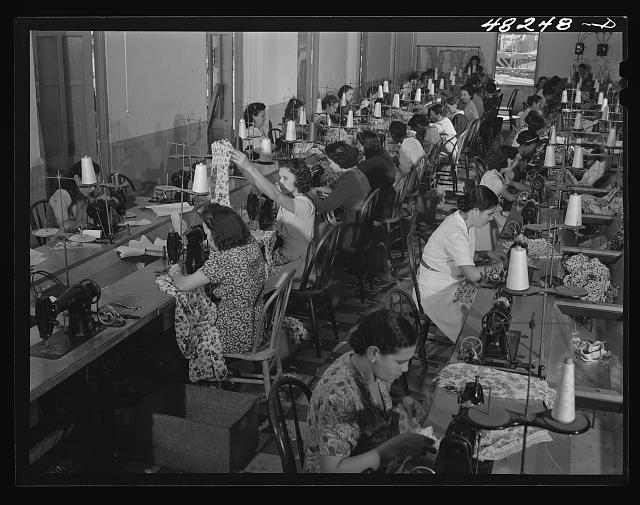 Needlework sweatshop near San Juan, 1942  (via loc.gov)