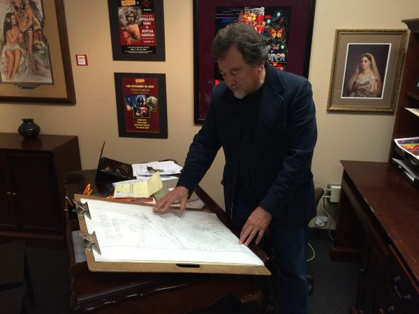 Jose Andres Giron reviewing a sketch (Credit: Steven Totten)