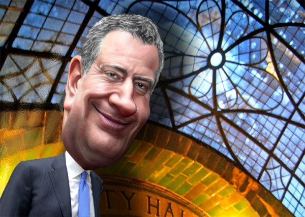 Caricature of New York City Mayor Bill de Blasio (Credit: DonkeyHotey/Flickr0