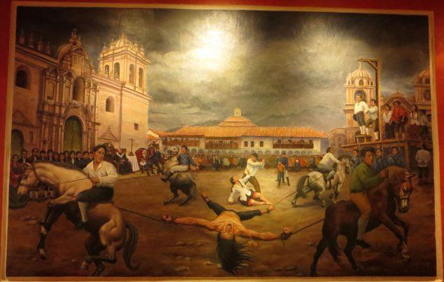 The quartering of Túpac Amaru II, leader of Peruvian indigenous uprising ( Museo Casa del Inca Garcilazo de la Vega/Wikimedia)