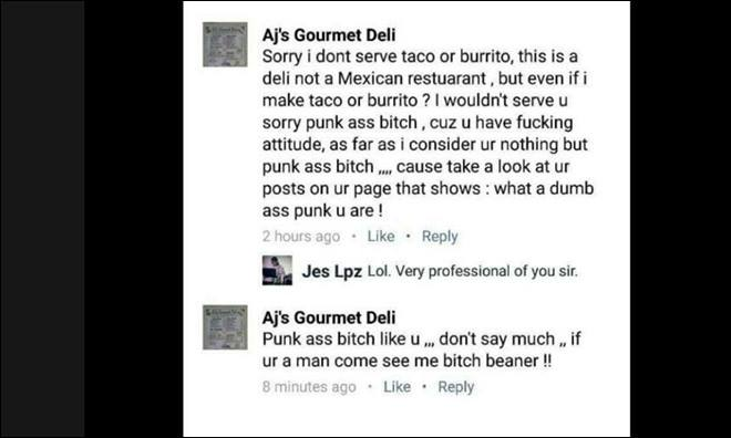 Screenshot of deli owner's response (Stephanie Marie)