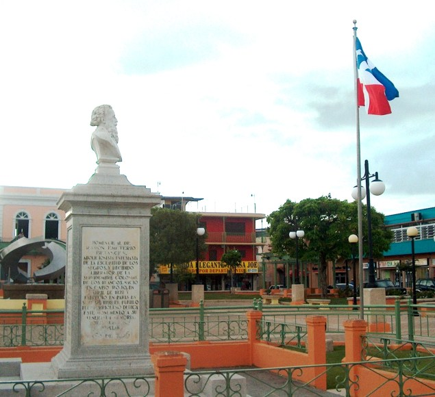 The tomb of Ramón Emeterio Betances in Cabo Rojo, Puerto Rico with the flag of Lares