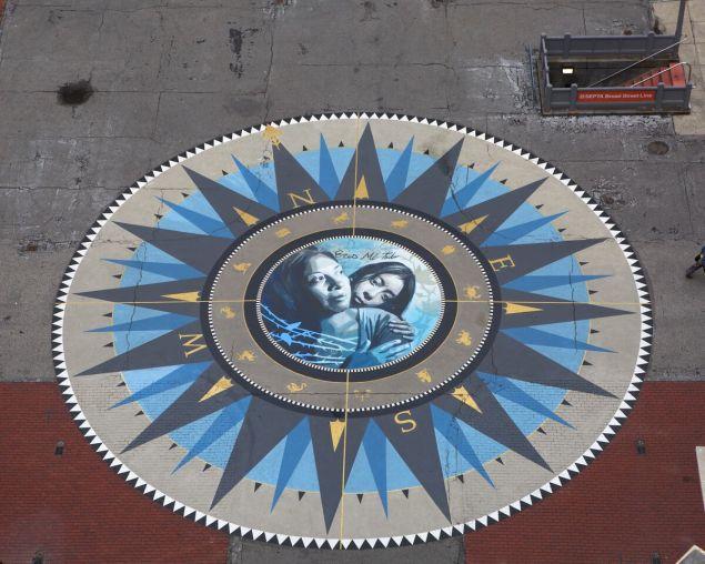 Public art installation by Michelle Angela Ortiz in front of city hall in Philadelphia (Steve Weinik)