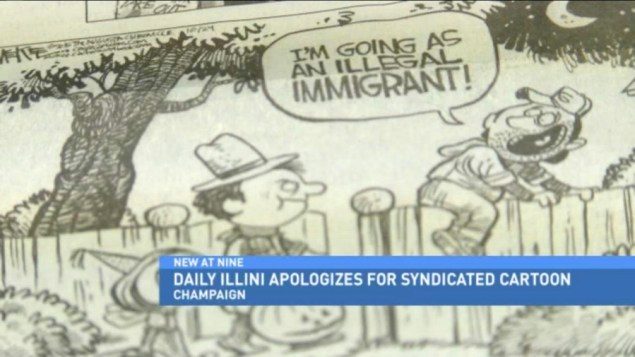 Cagle cartoon appearing in Tuesday's edition of the Daily Illini (Fox News at Nine)