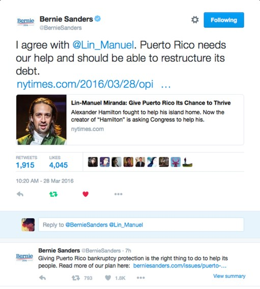 Lin and Bernie Twitter