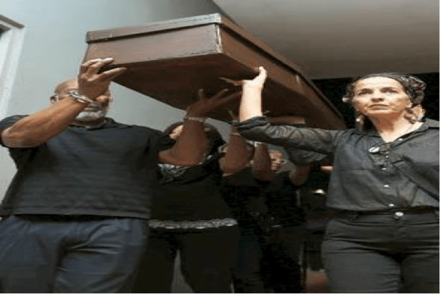 Blackface characters such as Chianita La Negra, Diplo, Pirulo el Colorao, Cuco Pasorín and Pedro Fosas Nales were among those buried this past week. Activist and scholar Maria Reinat-Pumarejo is seen carrying the coffin in front.