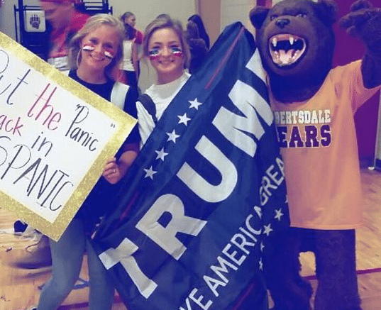 Alabama HS Pep Rally Features 'Put the Panic Back in Hispanic' Sign (Next to Trump Banner, Too)