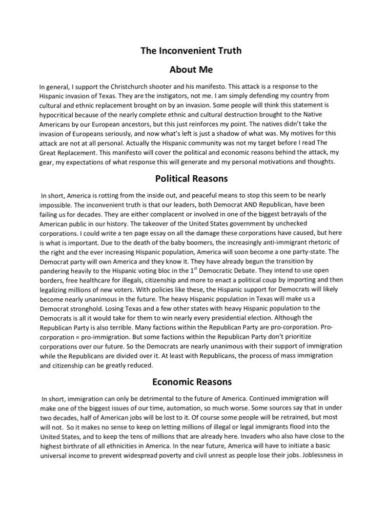 Parts of the Manifesto From the White Supremacist El Paso Terrorist