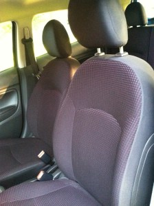 Purple cloth seats.
