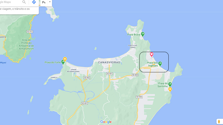 mapa do google mostrando onde fica a praia dos ingleses