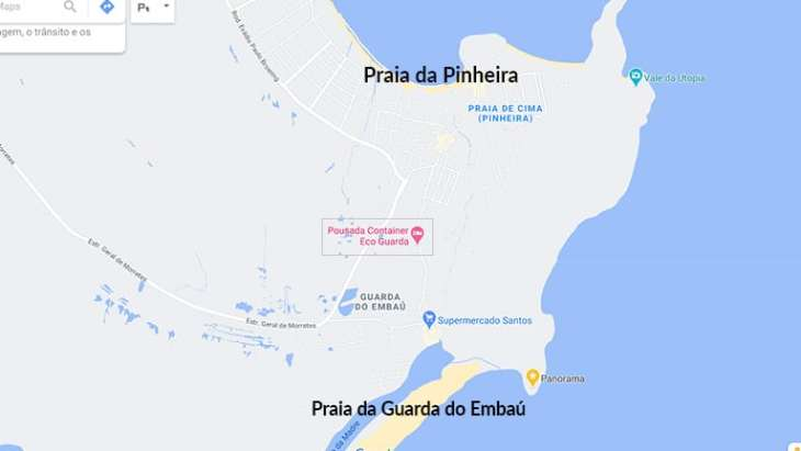mapa guarda do embau pousadas