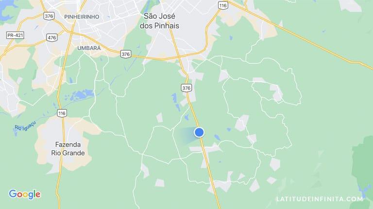 mapa da BR 376 saída de São José dos Pinhais
