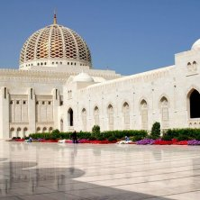 Attractions - Exterior view of the Sultan Qaboos Grand Mosque on a sunny day, Wilayat Bawshar, Muscat Oman