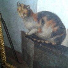 particolare del gatto nella loggia dell'Ermitage