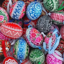 Easter egg with traditional czech decorations.