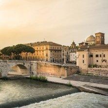 Tiber river and Tiberina island in Rome