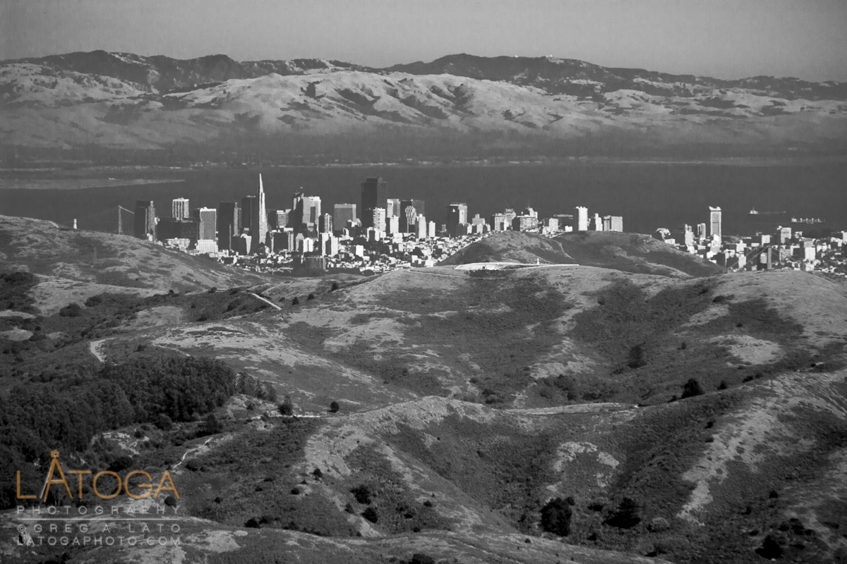 San Francisco Skyline and East Bay as seen over Marin Headlands.