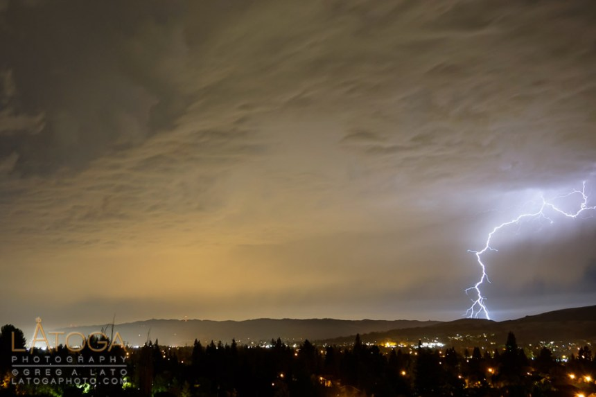 Thunderstorm rolls through the Bay Area and lightening over the Tri-Valley.