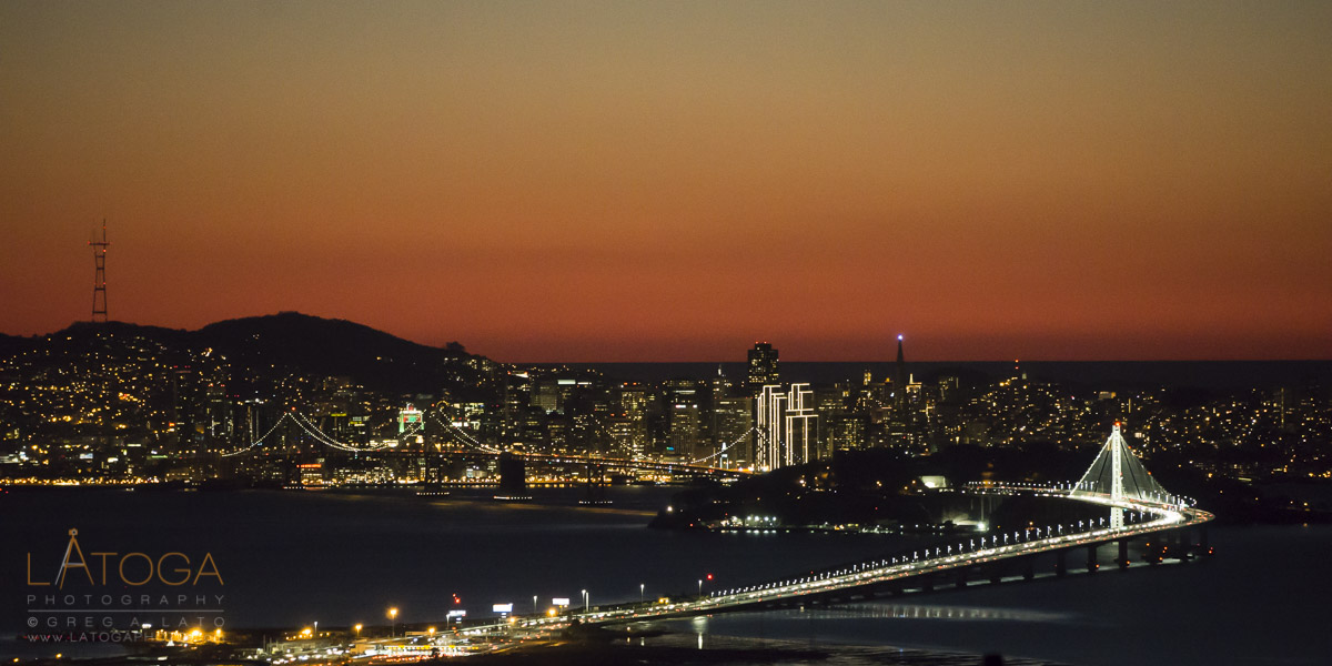 Sunset View of Bay Bridge and Holiday San Francisco Skyline