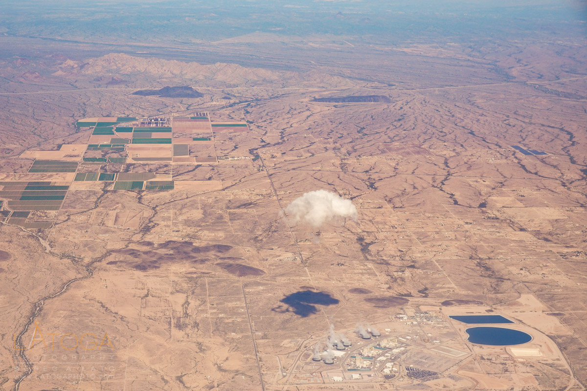Aerial view of Arizona's Palo Verde Nuclear Generating Station with self created cloud formation.