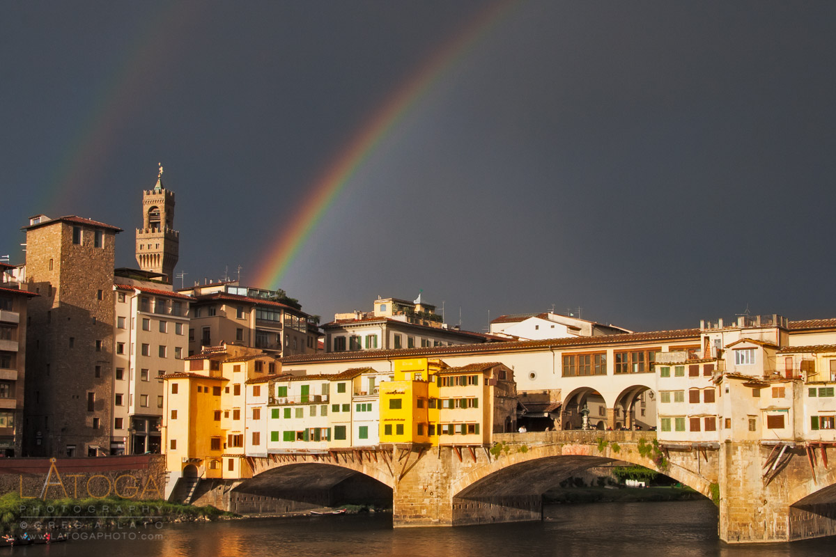 Double Rainbow over the Ponte Vecchio in Florence, Italy