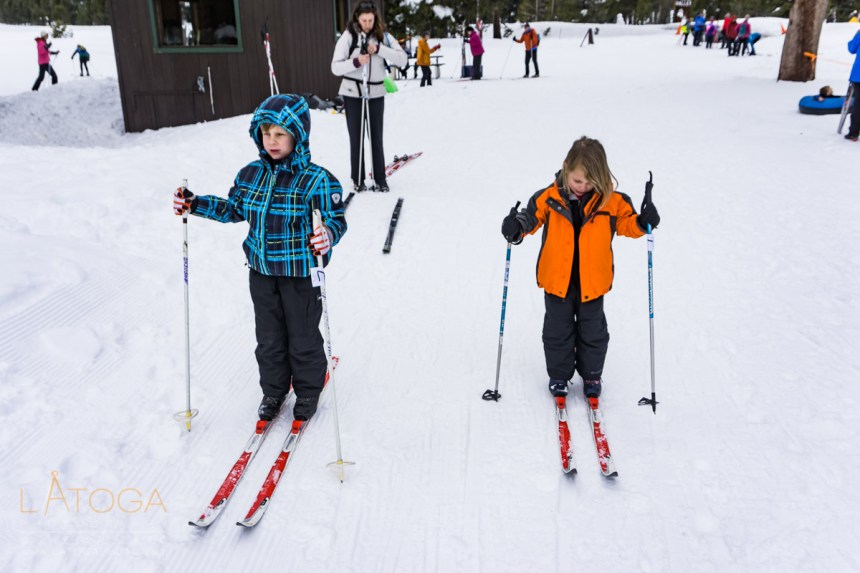 Kids Preparing for First Cross-Country Skiing Lesson