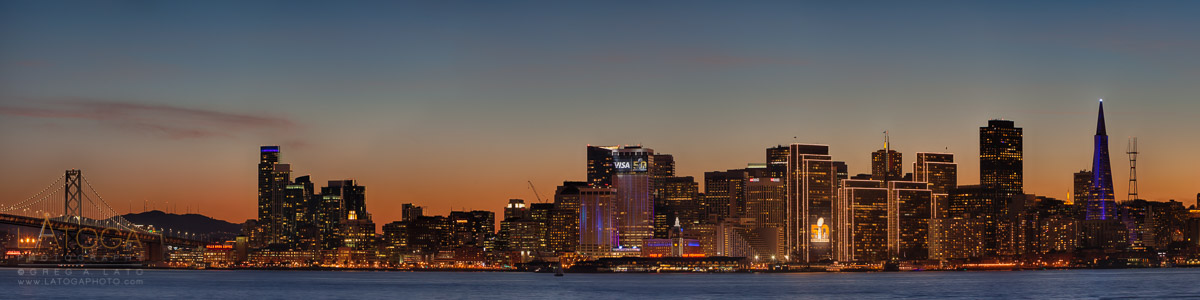 Panoramic View of San Francisco Skyline on Eve of Super Bowl 50