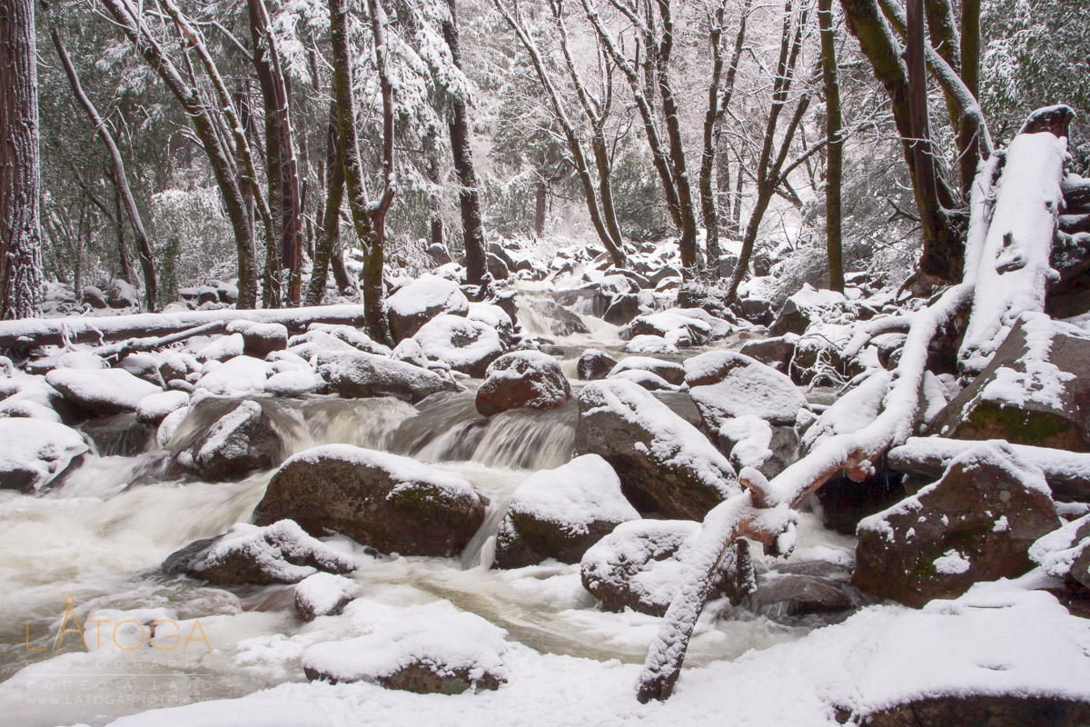 Snow covered Bridalveil Creek in Yosemite Valley