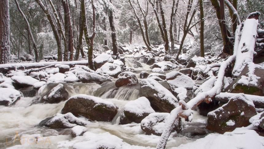 Snow covered Bridalveil Creek in Yosemite Valley