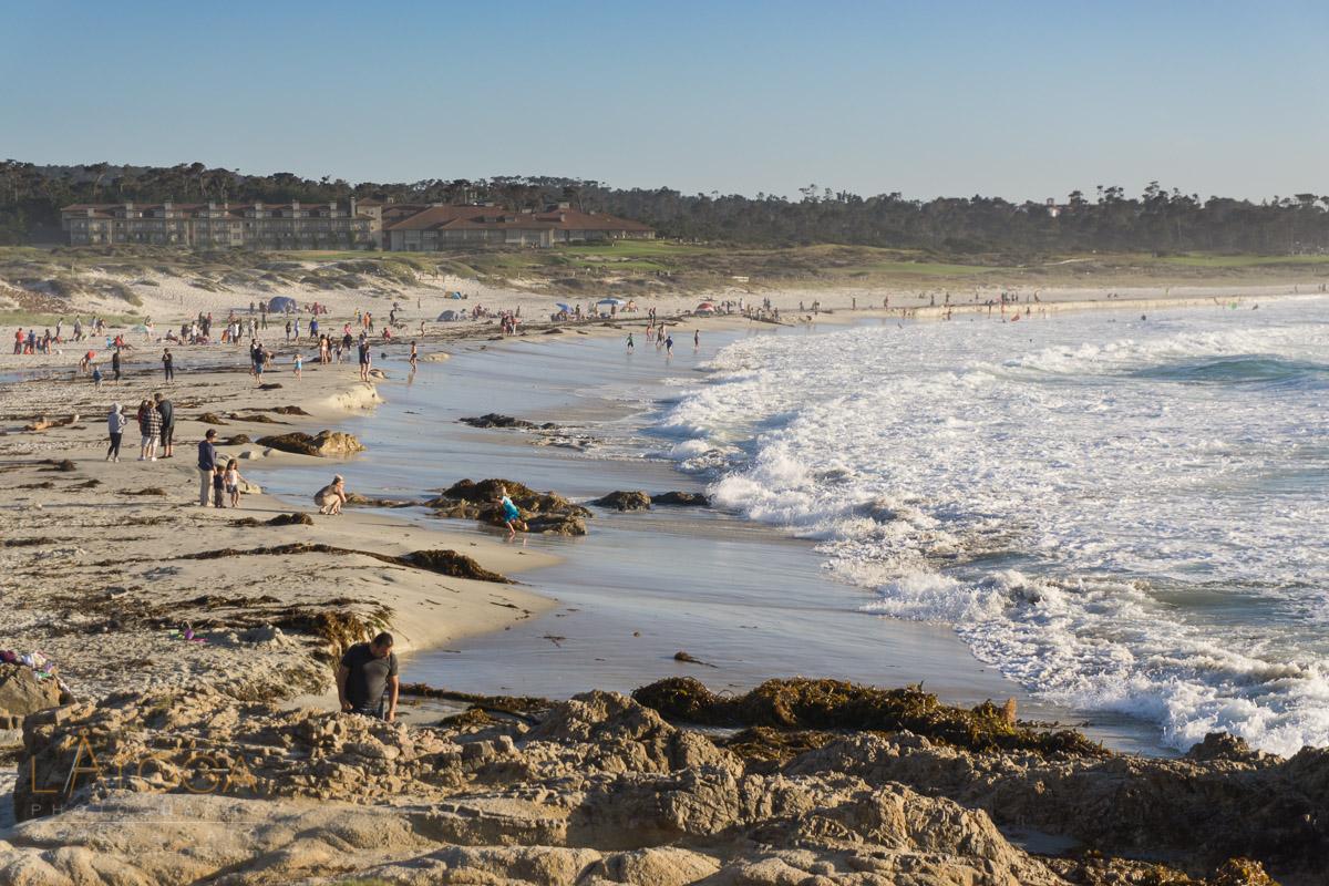 Weekend Beach Crowd at Asilomar State Beach, Monterey County, California