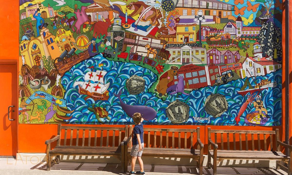 """Boy and """"Monterey Histogram - The Past"""" Mural"""