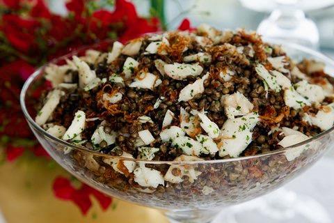 Salada de Lentilha e Bacalhau com Cebolas Douradas