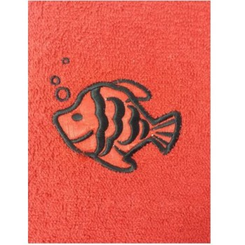 Fish Embroidered Red Bath Sheets – Value Range