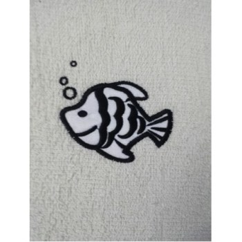 Fish Embroidered White Bath Sheets – Value Range