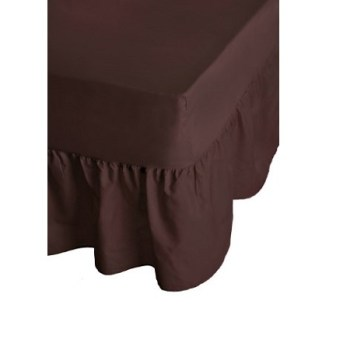 68 Pick Polycotton Chocolate Brown Valance Sheets