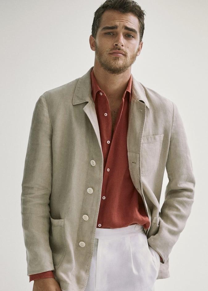Americana de lino chaquetas finas