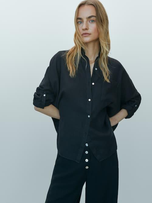 camisas de lino massimo dutti