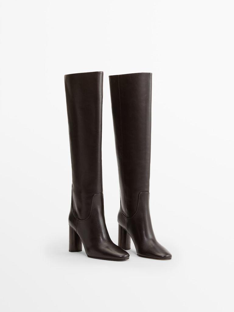 Botas altas de piel de Massimo Dutti