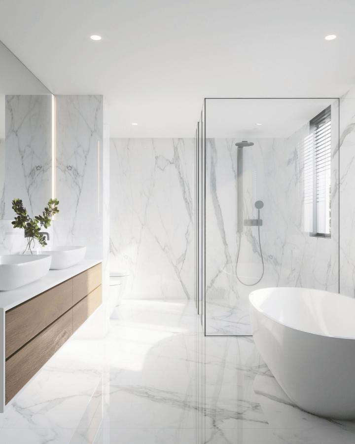 effet marbre pour votre salle de bain