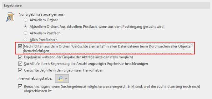 Pop-Up-Fenster zu den Sucheinstellungen in Outlook