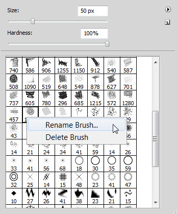 Rename A Photoshop Brush