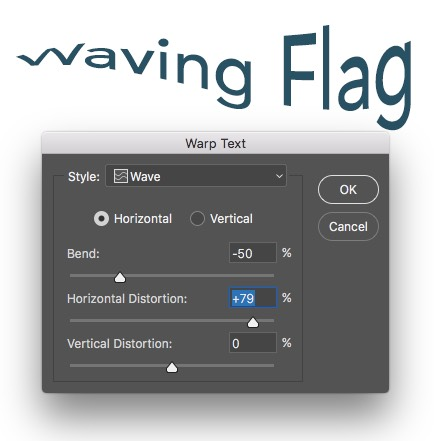 Warp Text Wave Applied - Horizontal Distortion Photoshop
