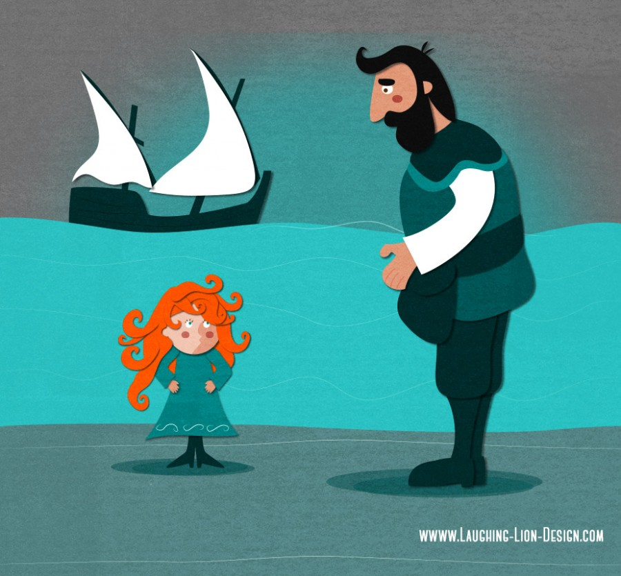 Grace And O'Malley and her father illustrated by Jennifer Farley