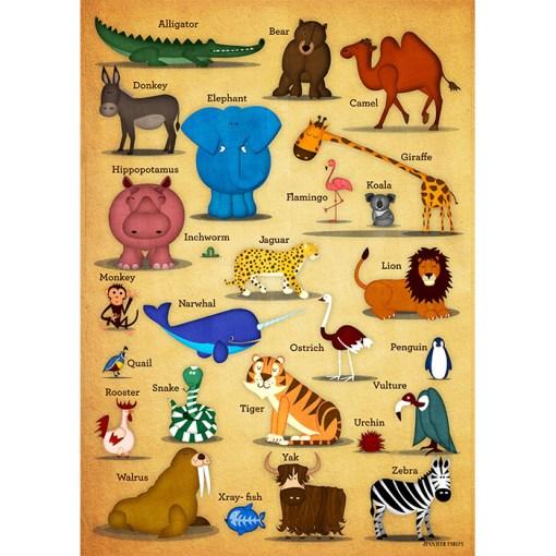 Animal-ABC-Print-Laughing-Lion-Design