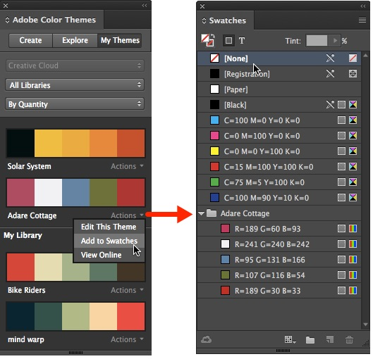 InDesign Colour Themes Panel