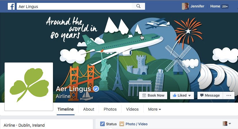 Aer Lingus Facebook page with adapted illustration Jennifer Farley