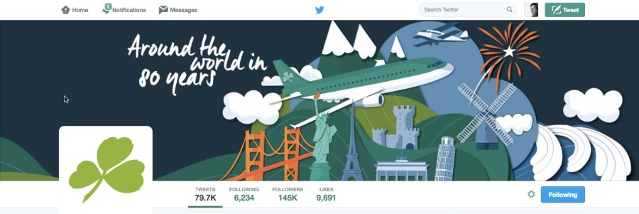 Aer Lingus Twitter page with adapted illustration Jennifer Farley