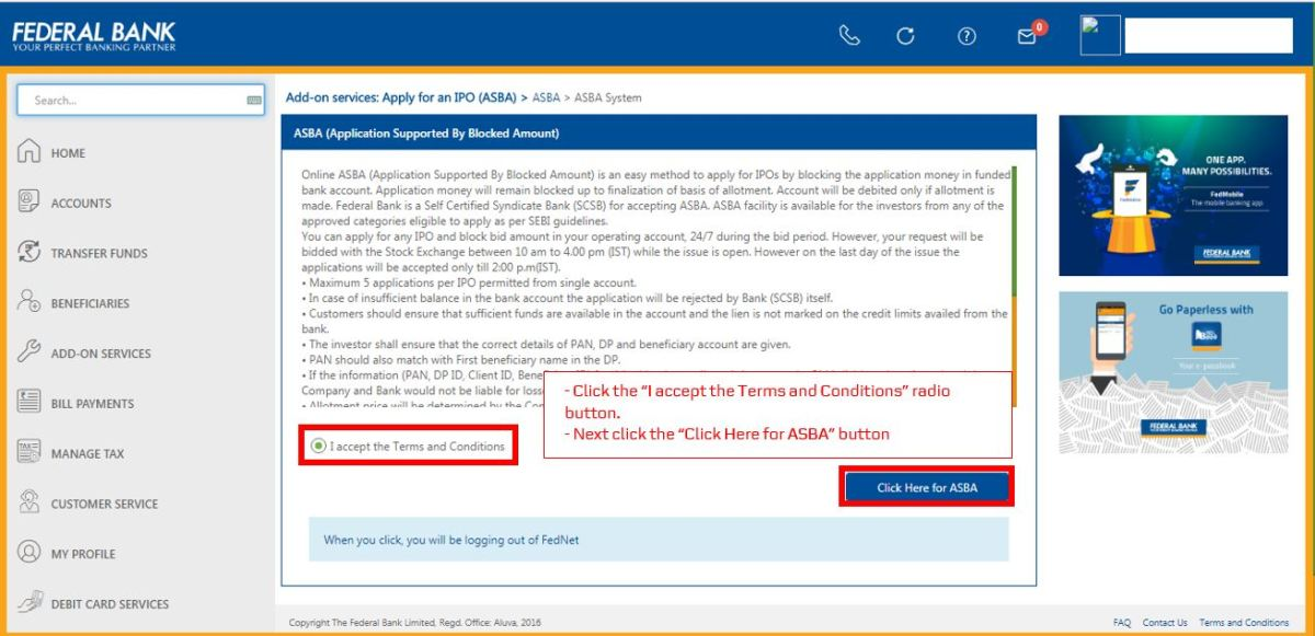How to apply for IPO via Federal Bank NetBanking (ASBA)-07